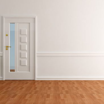 empty home entry foyer with white wall elegant exit door and parquet - rendering